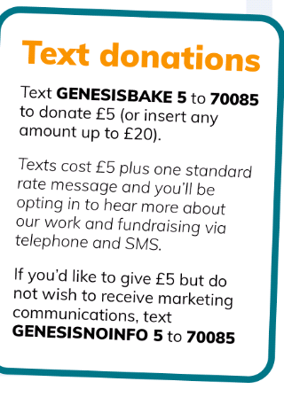 Playing card sized infographic explaining that you can text GENESISBAKE 5 to 70085 to donate from five pounds to twenty pounds.